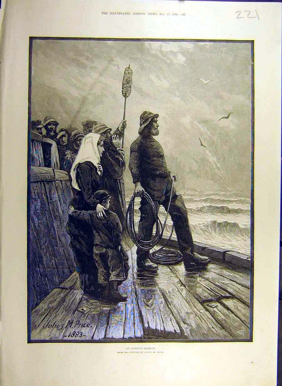 Print 1884 Anxious Moment Price Boat Fishermen Family Art 21Ccc0 Old Original