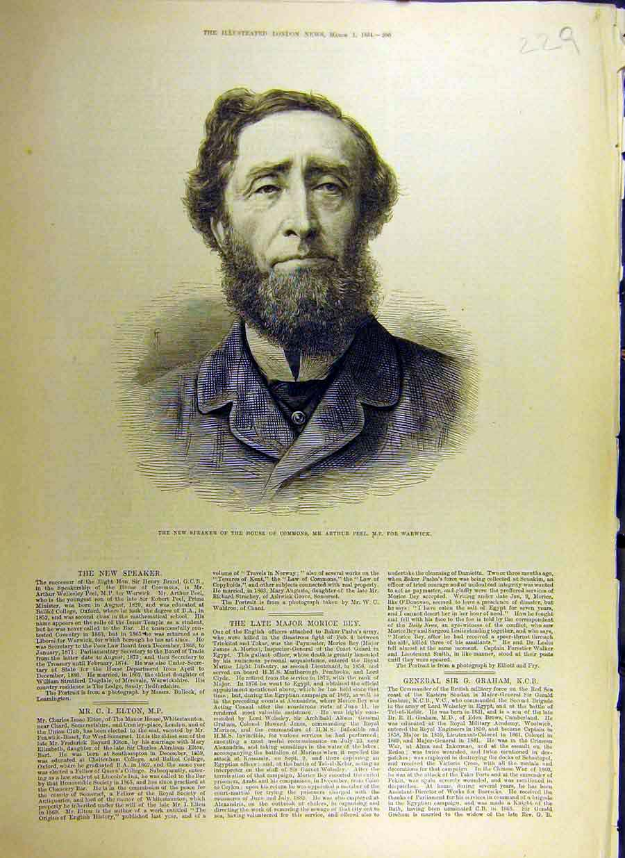 Print 1884 Portrait Speaker House Commons Peel Warwick 29Ccc0 Old Original