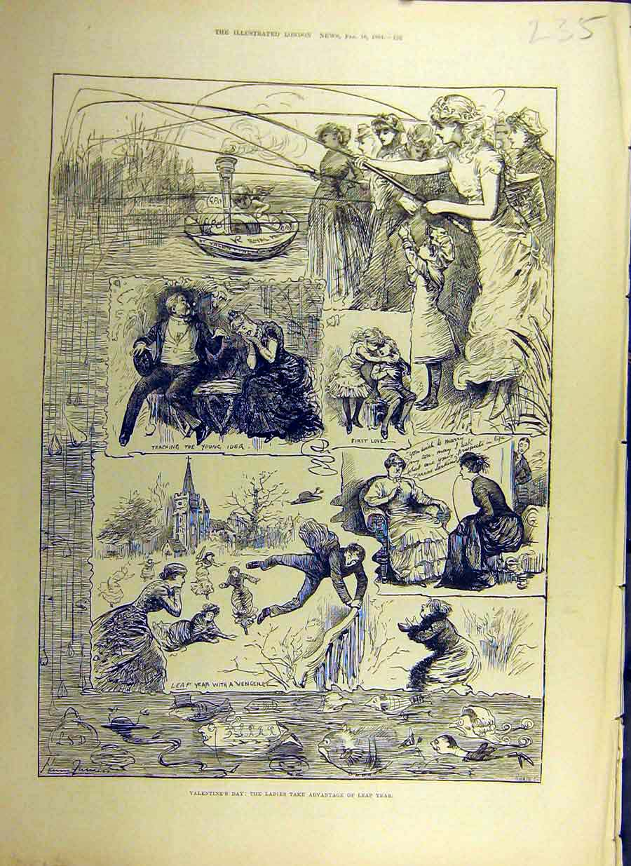 Print 1884 Valentine'S Day Ladies Advantage Leap-Year Lovers 35Ccc0 Old Original