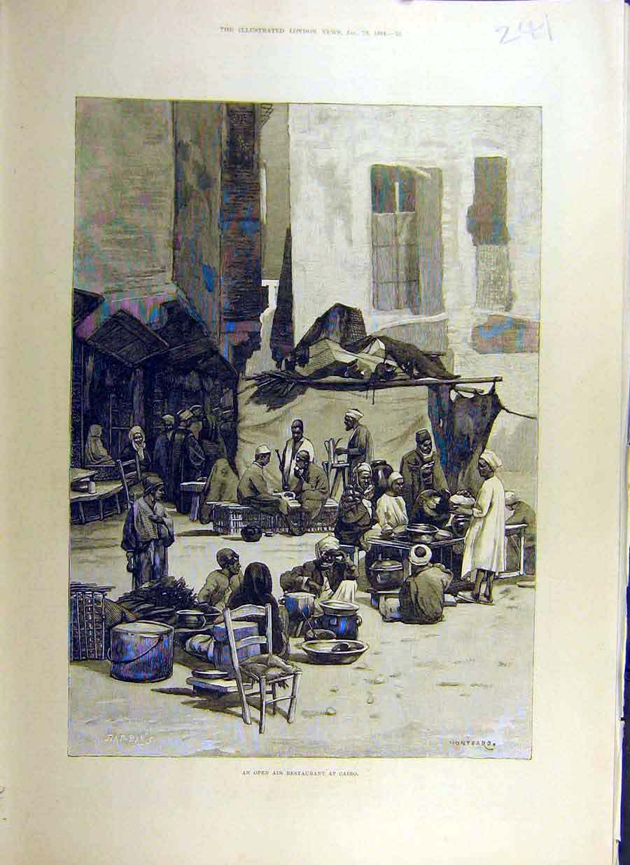 Print 1884 Open-Air Restaurant Cairo Egypt Street People 41Ccc0 Old Original