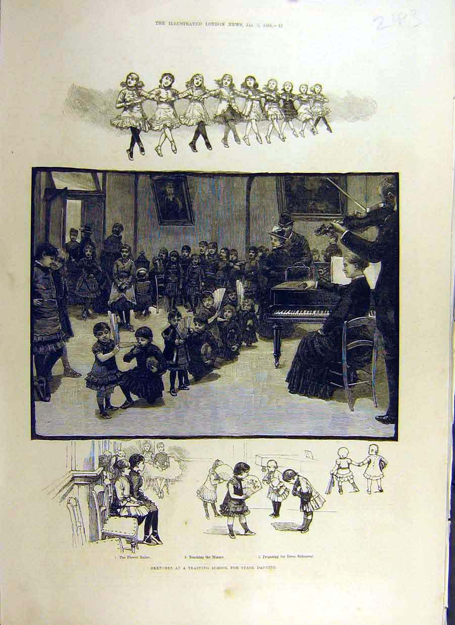 Print 1884 Sketches Training School Stage Dancing Children 43Ccc0 Old Original