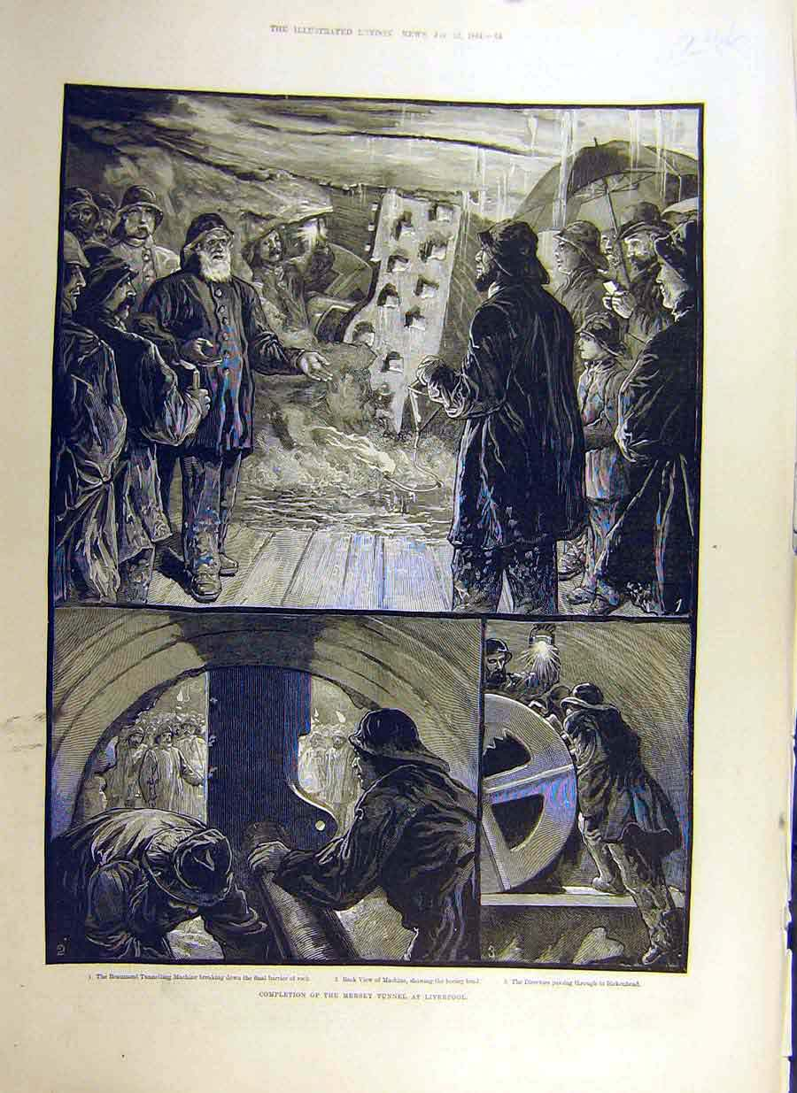 Print 1884 Mersey Tunnel Liverpool Beaumont Machine 46Ccc0 Old Original