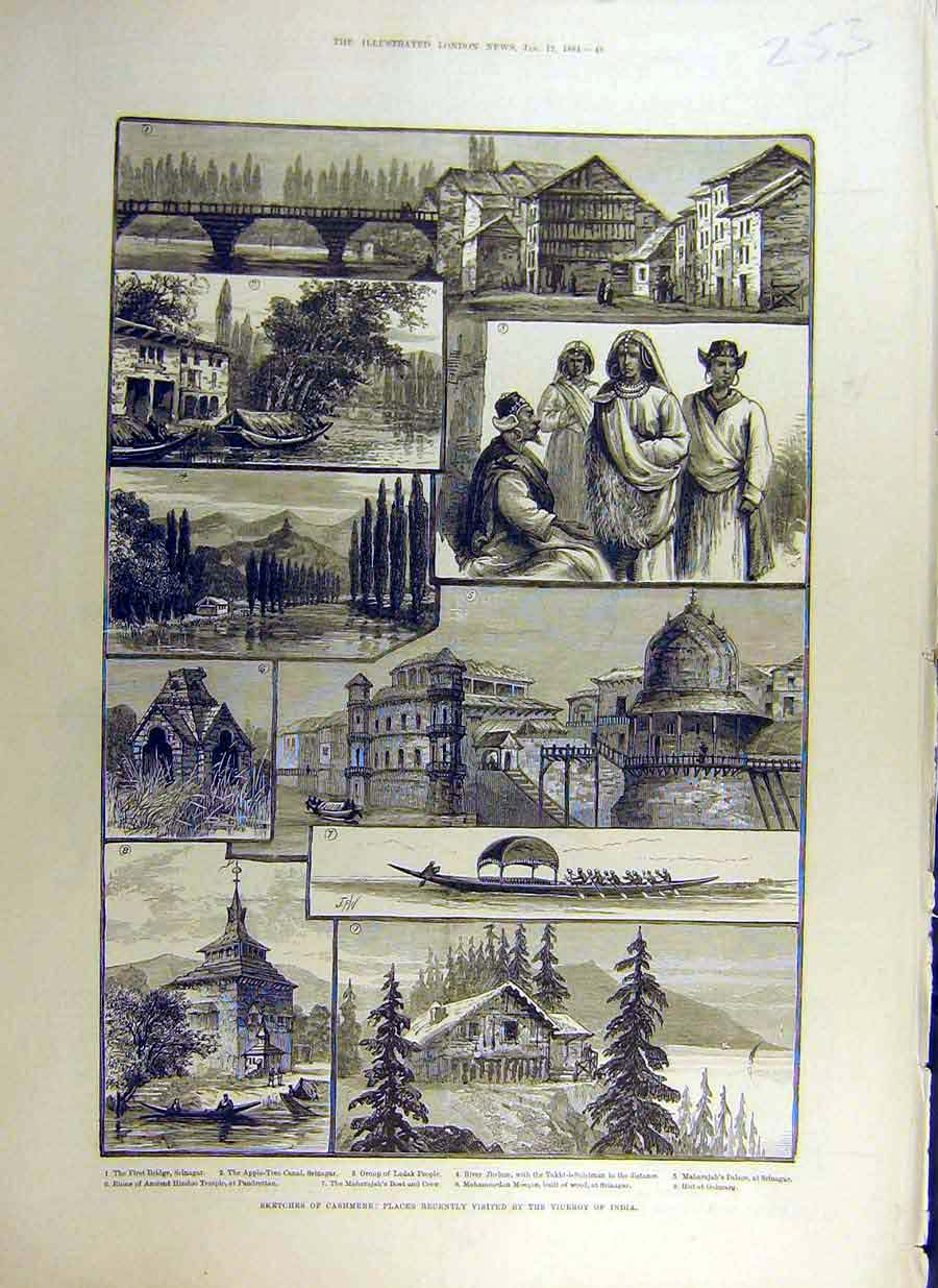 Print 1884 Cashmere India Sketches Ladak Jhelum Mosque 53Ccc0 Old Original