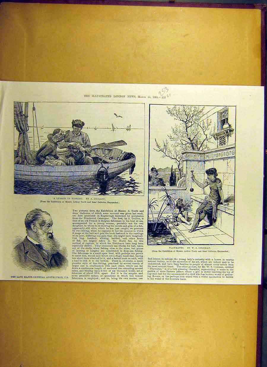 Print 1884 Fishing-Lesson Guillou Anstruther Playmate Coleman 53Uccc0 Old Original
