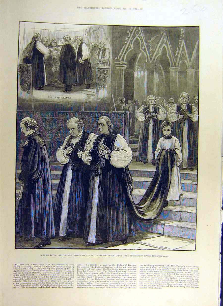 Print 1884 Bishop Sydney Westminster Abbey Consecration 56Ccc0 Old Original