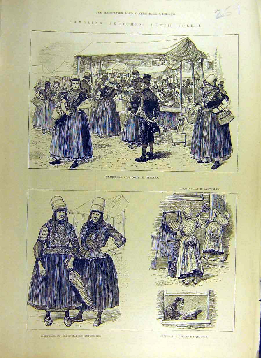 Print 1884 Sketch Dutch Holland Zeeland Fish-Women Zuyder-Zee 59Ccc0 Old Original