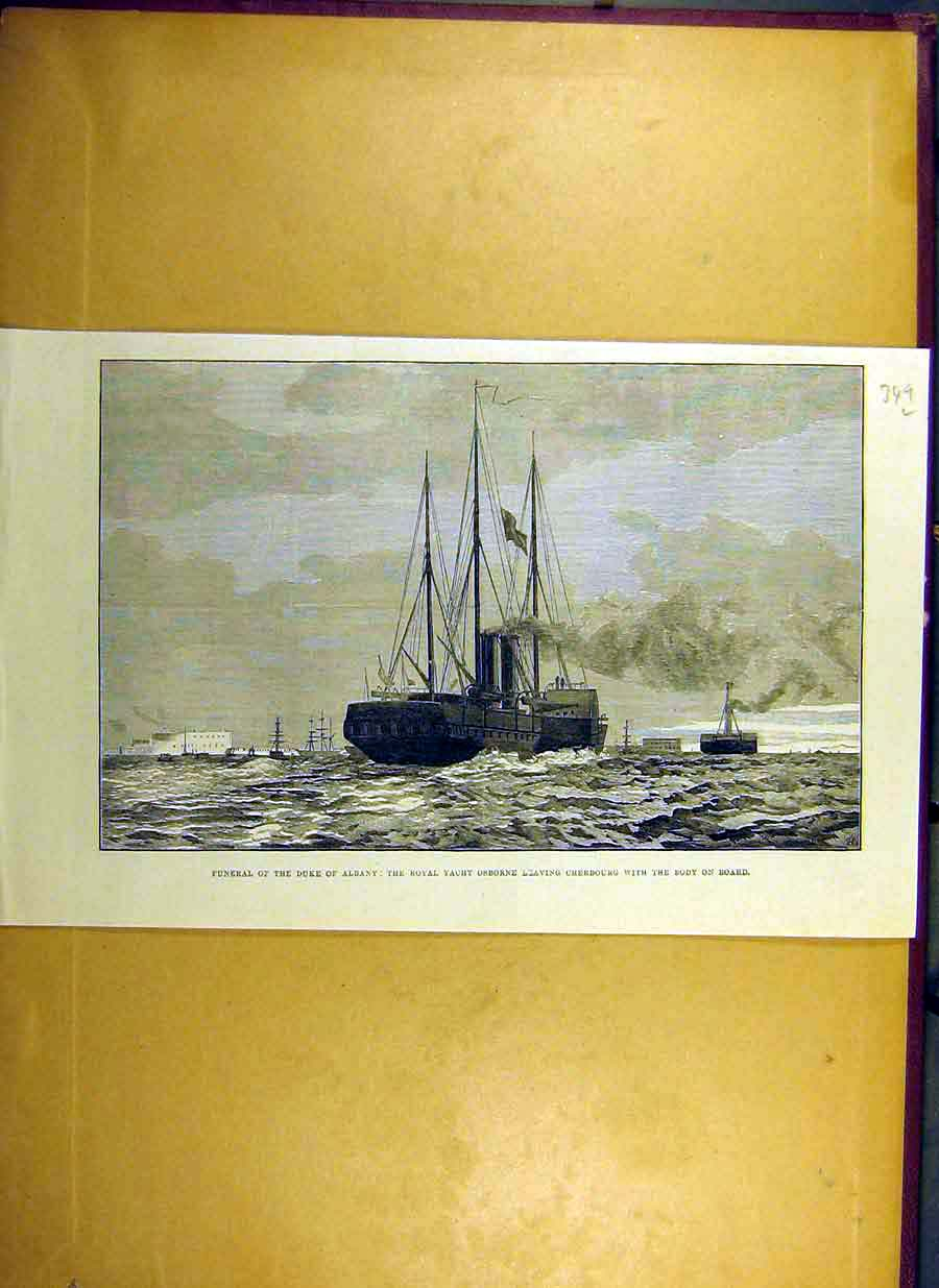 Print *0010 1884 Funeral Duke Albany Royal Yacht Osborne Cherbourg 49Lccc0 Old Original