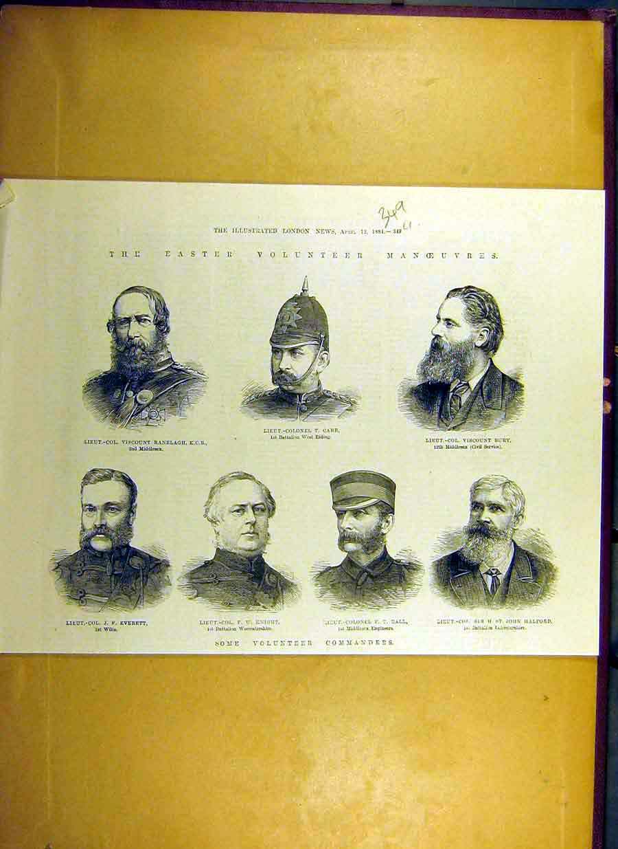 Print 1884 Easter Volunteer Manoeuvres Portrait Commanders 49Uccc0 Old Original