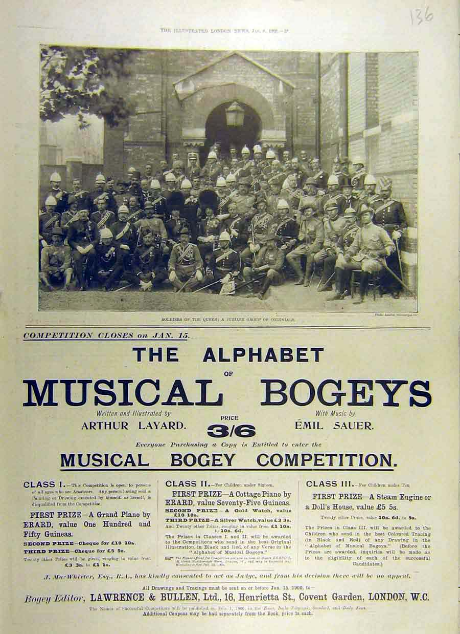 Print 1900 Soldiers Queen Colonial Musical Bogey Competition 36Ccc0 Old Original