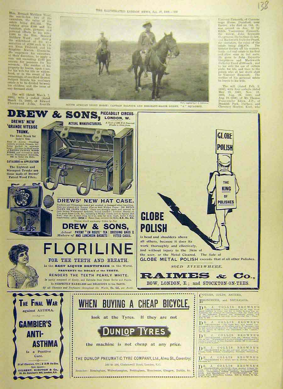 Print 1900 South-African Light-Infantry Balfour Lilley Advert 38Ccc0 Old Original