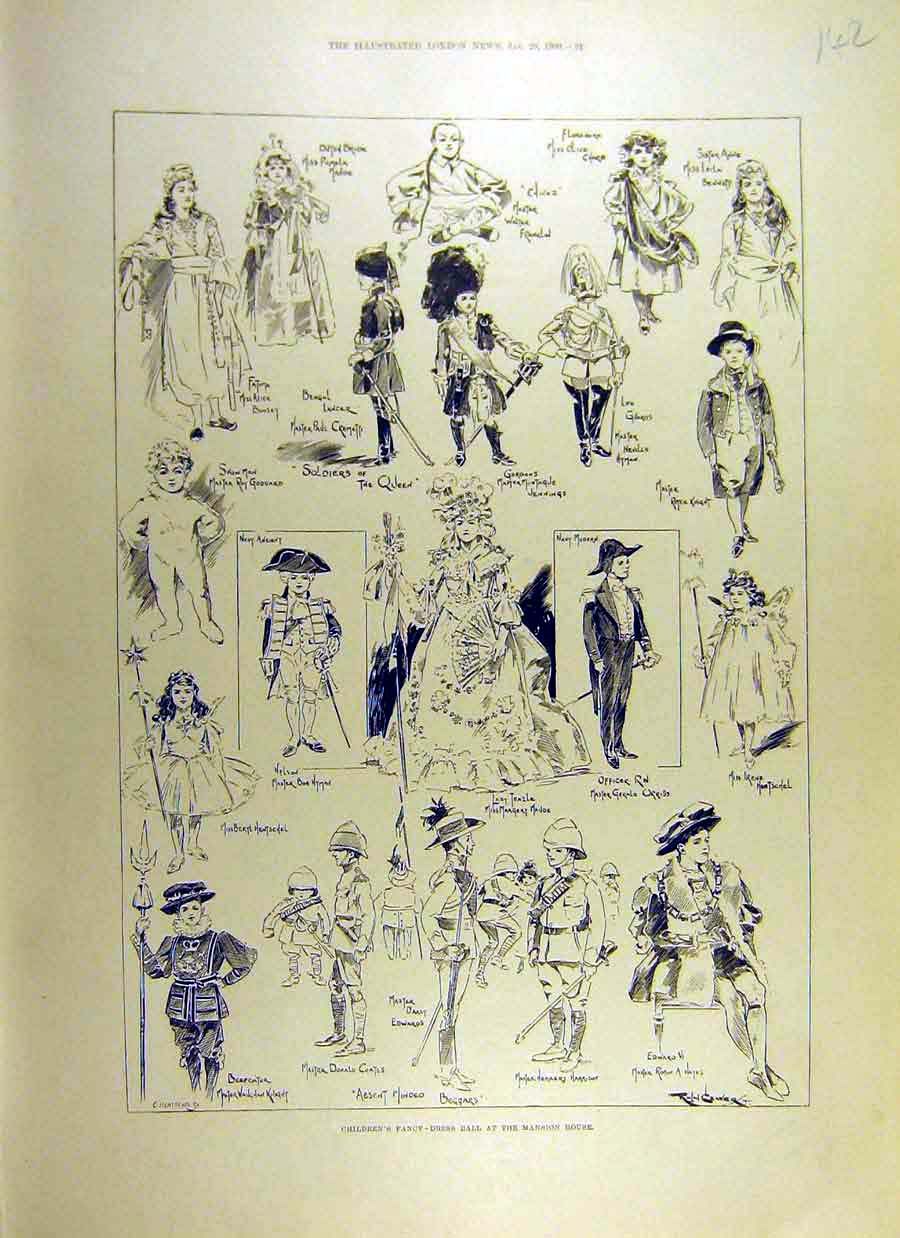 Print 1900 Children Fancy-Dress Ball Mansion House 42Ccc0 Old Original