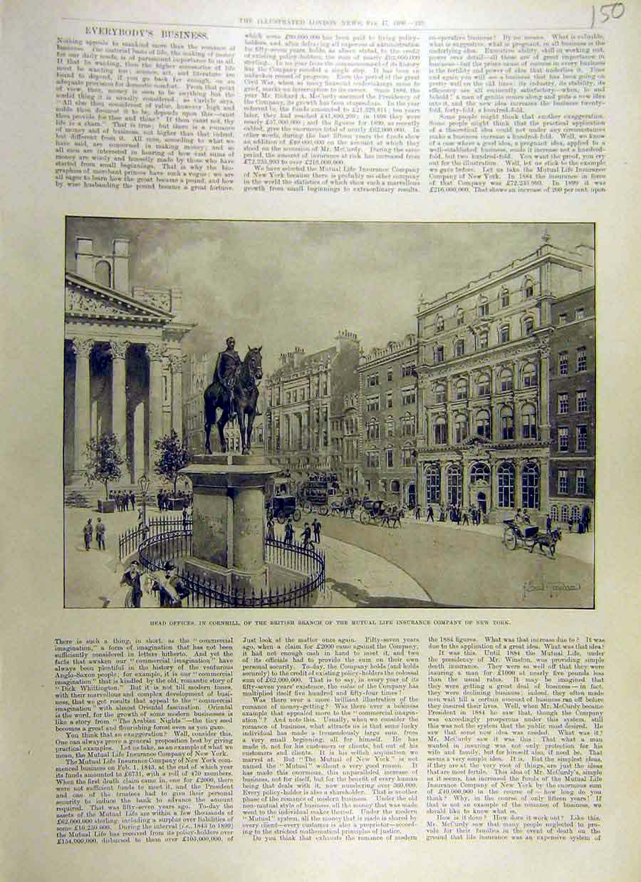 Print 1900 Office Cornhill Mutual Life Insurance New-York Usa 50Ccc0 Old Original