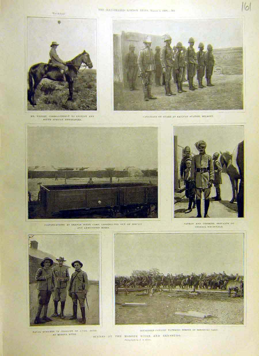 [Print 1900 Modder River Rensburg Boer War Africa Officers 61Ccc0 Old Original]