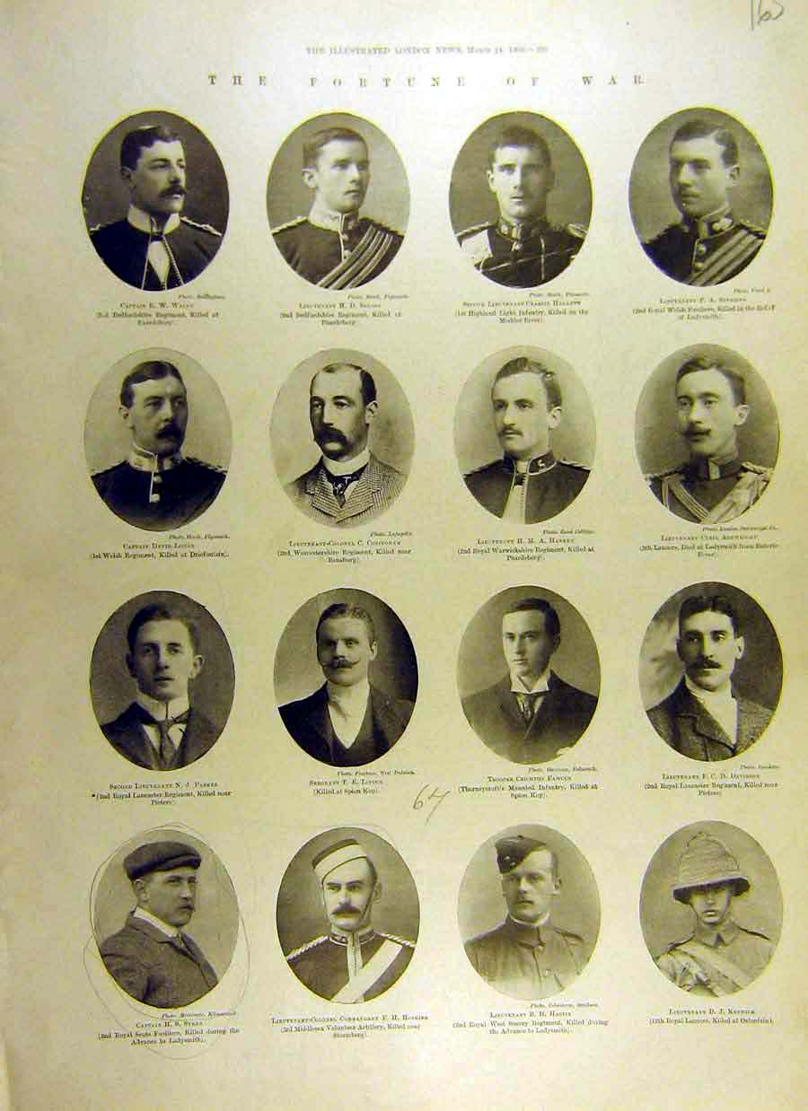 [Print 1900 Roll Honour Boer War Africa Officers Killed 65Ccc0 Old Original]