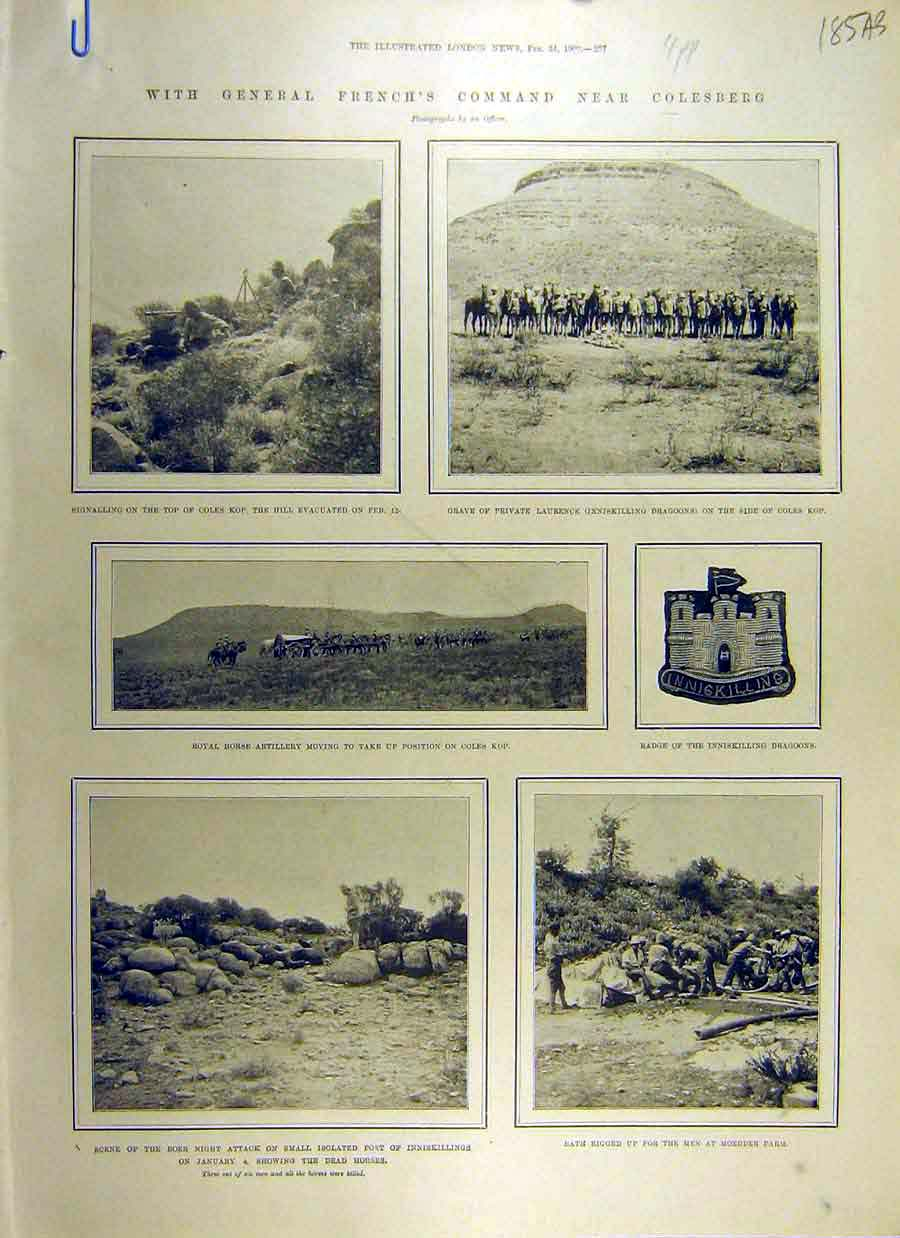 [Print 1900 General French Colesburg Transvaal War Africa 85Accc0 Old Original]