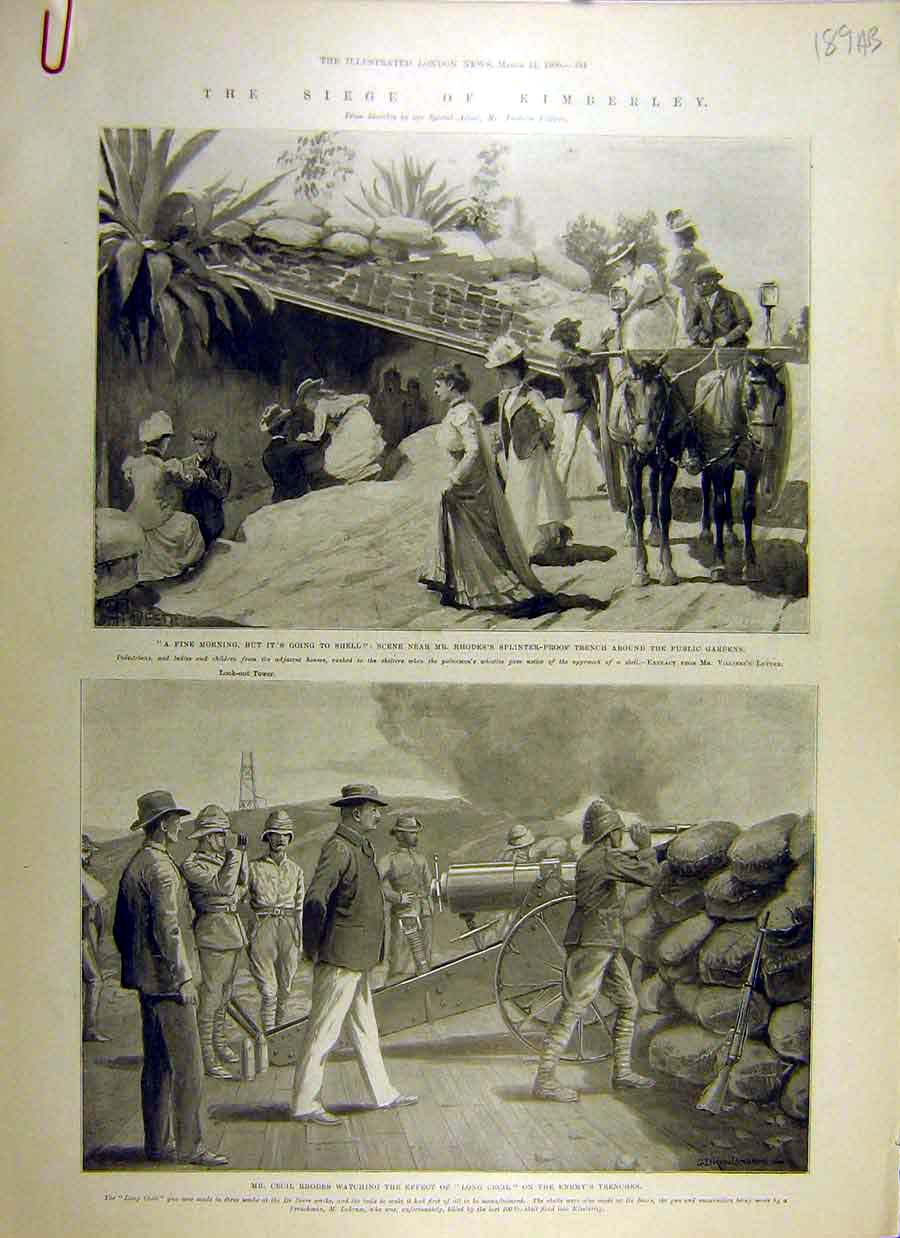 Print 1900 Kimberley Seige Transvaal War Africa Rhodes French 89Accc0 Old Original