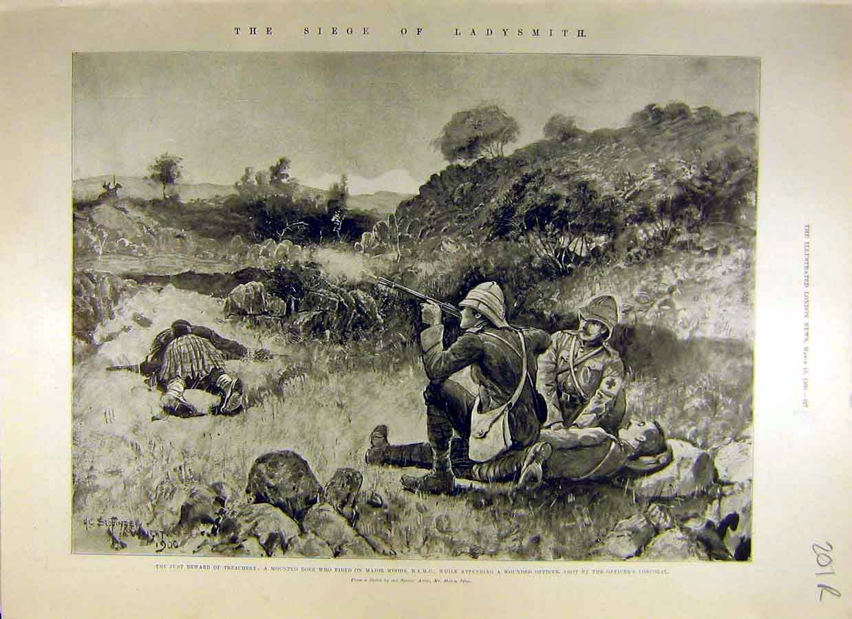 Print 1900 Boer War Africa Ladysmith Seige Buller Battle 01Rccc0 Old Original