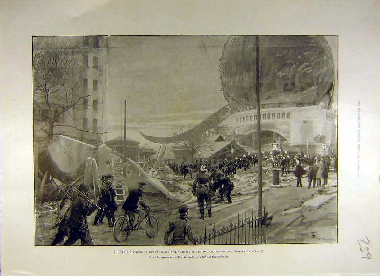 Print 1900 Paris Exhibition Ruins Foot-Bridge Accident 59Ccc0 Old Original