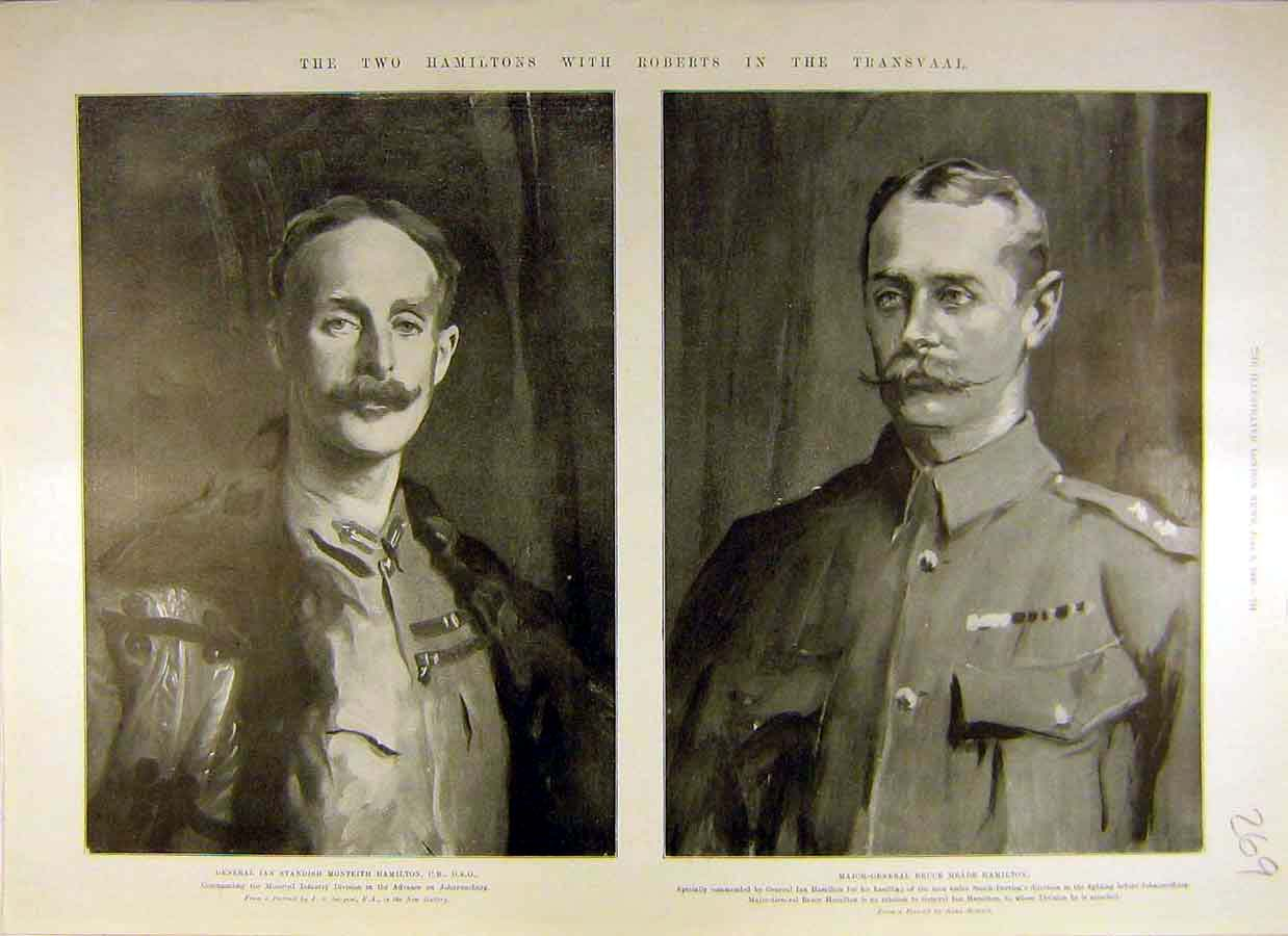 [Print 1900 Portrait Hamilton Officers Transvaal Africa 69Ccc0 Old Original]