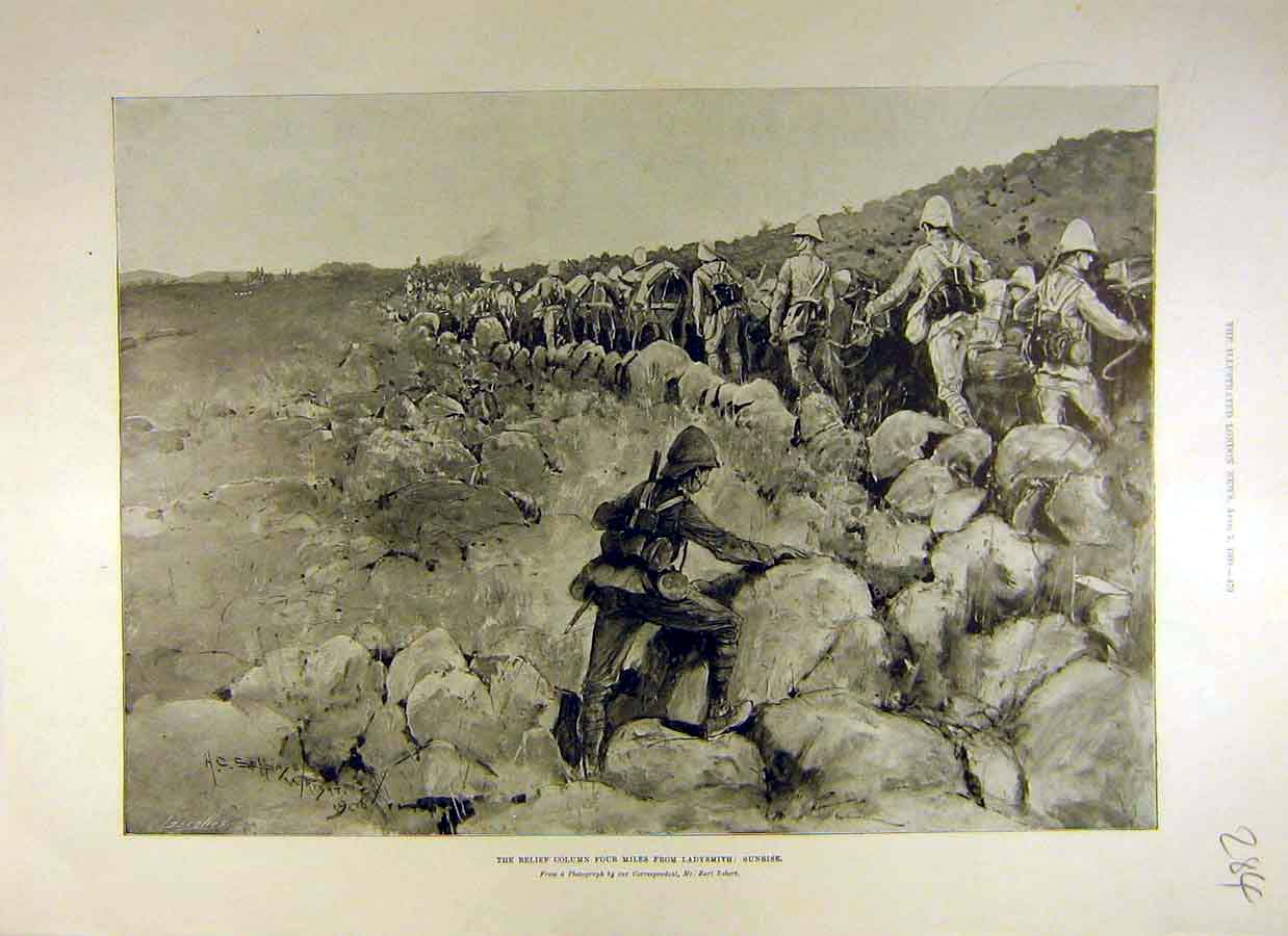 Print 1900 Relief Column Ladsmith Sunrise Boer War Africa 84Ccc0 Old Original