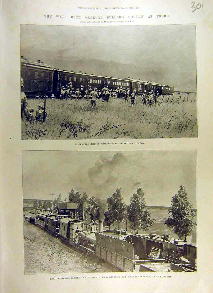 Print 1900 Wra Buller Frere Hospital Train Colenso Hms Forte 01Ccc0 Old Original
