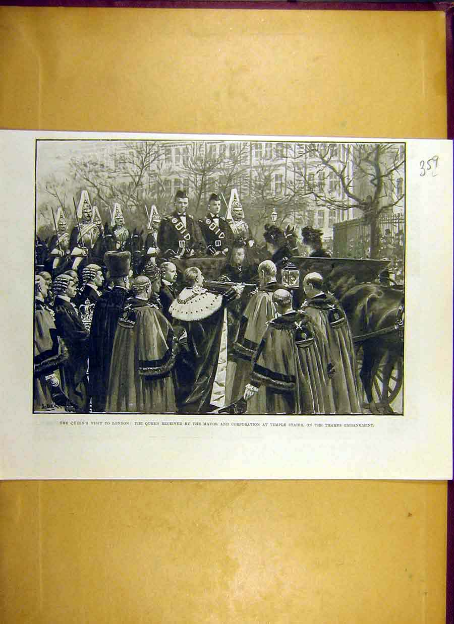 Print 1900 Queen London Temple-Stairs Mayor Thames 59Lccc0 Old Original