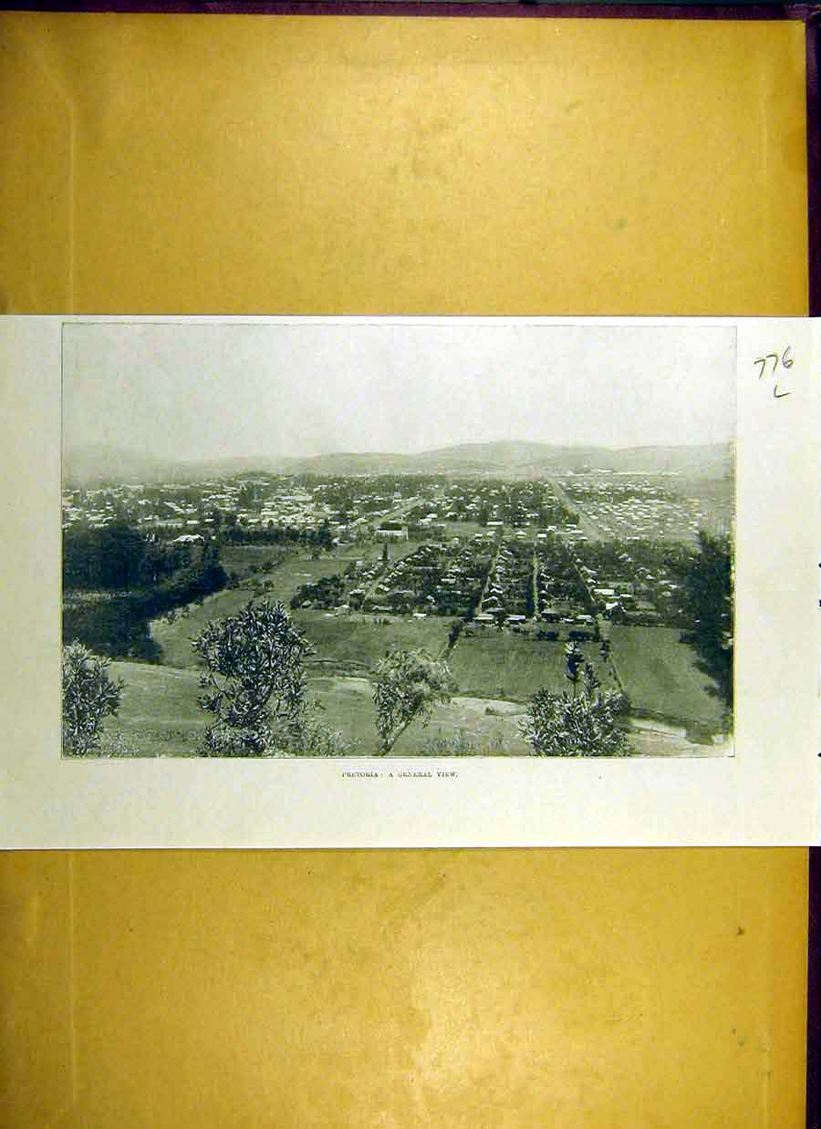 Print 1900 Pretoria View South-Africa 76Lccc0 Old Original