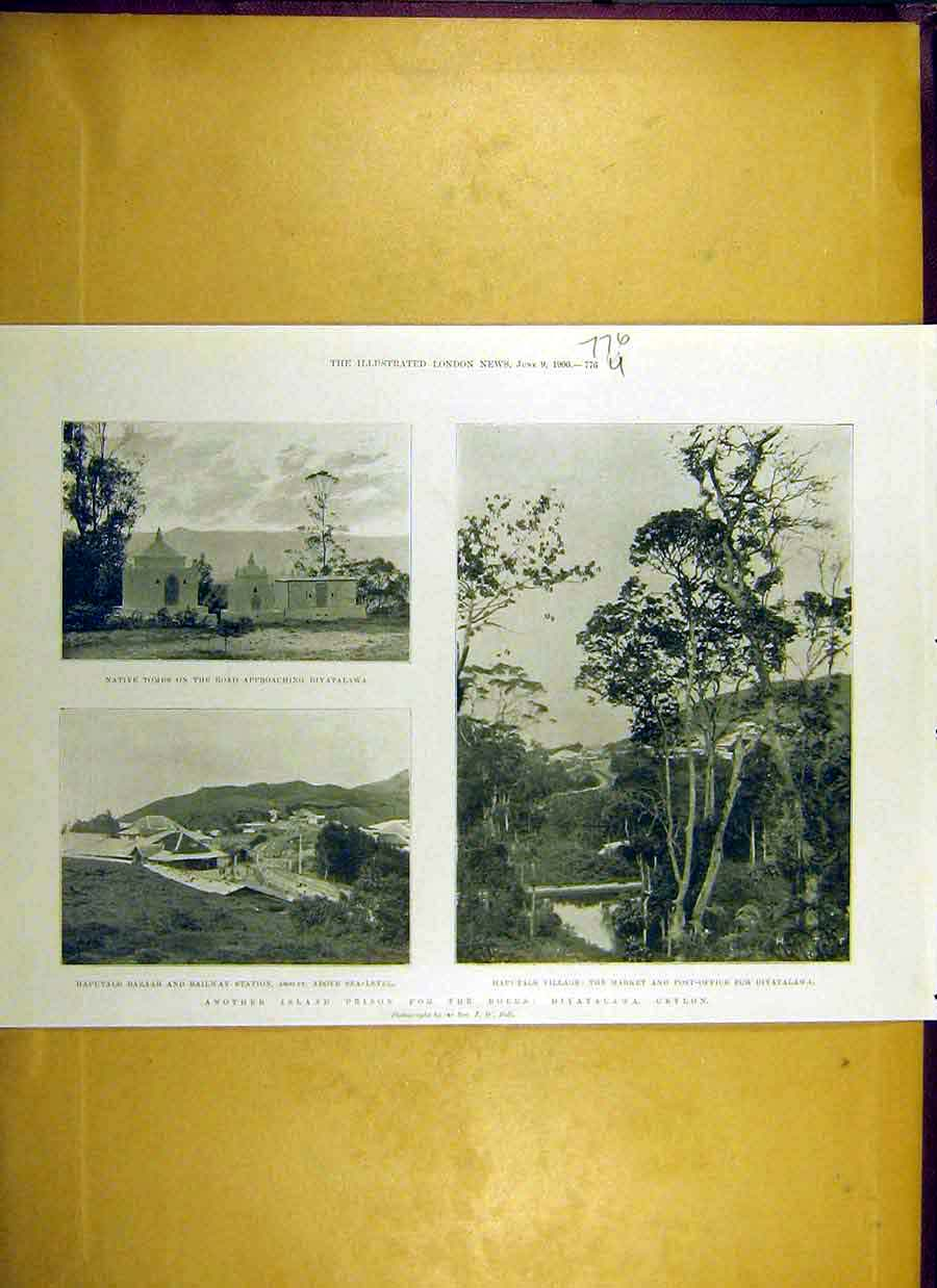 Print 1900 Diyatalawa Ceylon Boer Prison Post-Office Bazaar 76Uccc0 Old Original