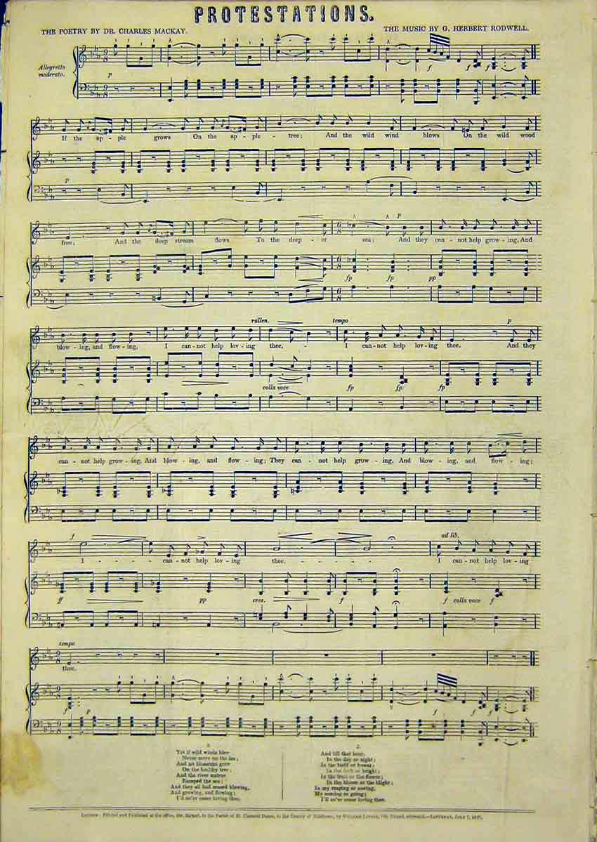 Print Music Score Poetry Mackay Rodwell Protestations 1849 15Ccc1 Old Original