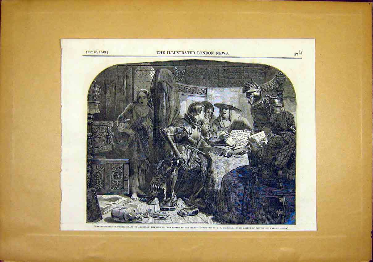 Print Thomas Chase Murderers Painting Corbould Fine Art 1849 57Uccc1 Old Original