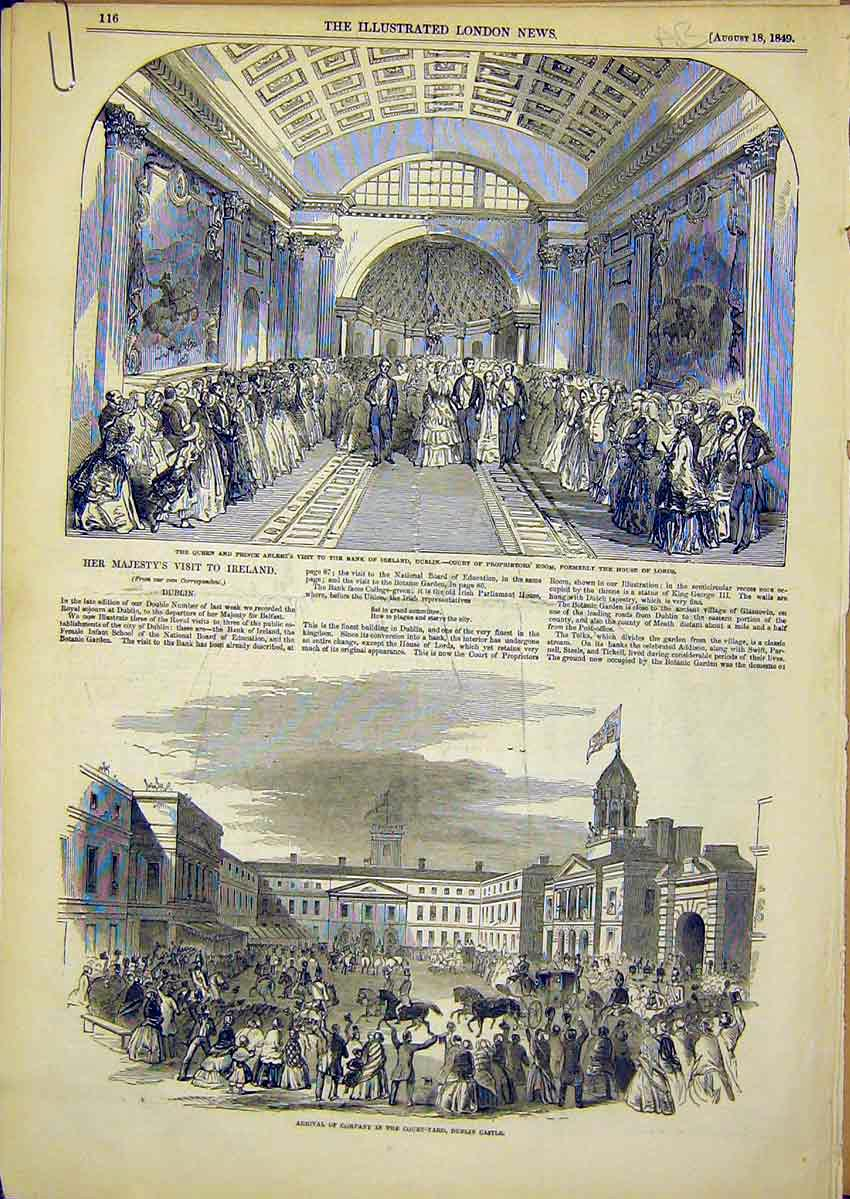 Print Royal Visit Ireland Bank Dublin Castle Kingstown 1849 16Accc1 Old Original
