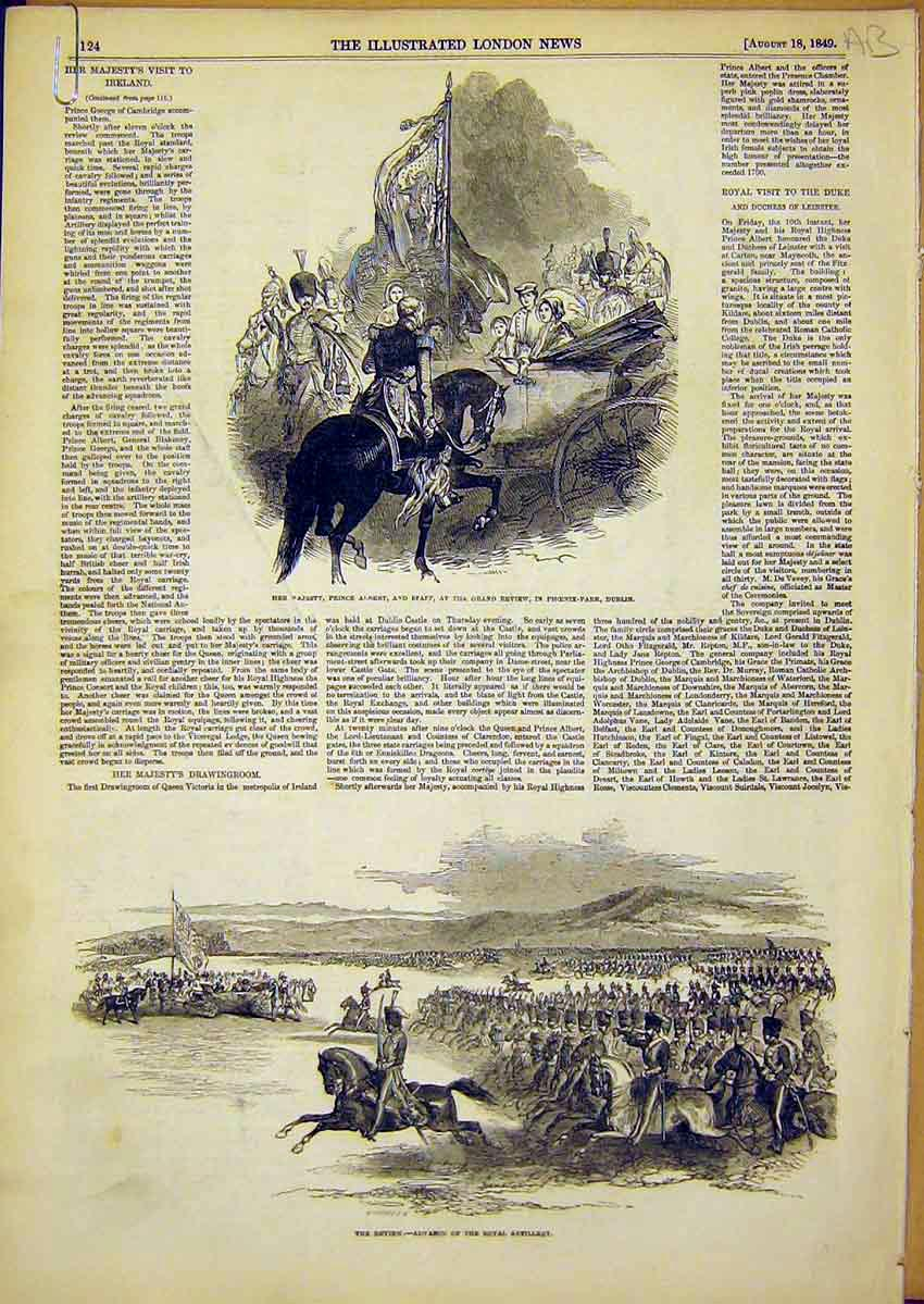 Print Royal Ireland Phoenix Park Albert Review Children 1849 24Accc1 Old Original