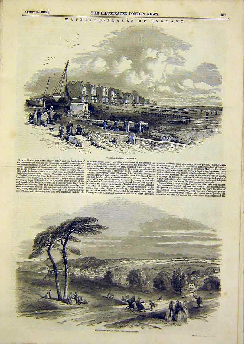 Print Worthing Beach Sea-Side Tunbridge Wells Landscape 1849 37Ccc1 Old Original