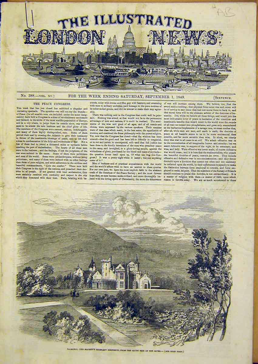 Print Balmoral Highland Royal Loch Muick Knock Castle 1849 46Accc1 Old Original