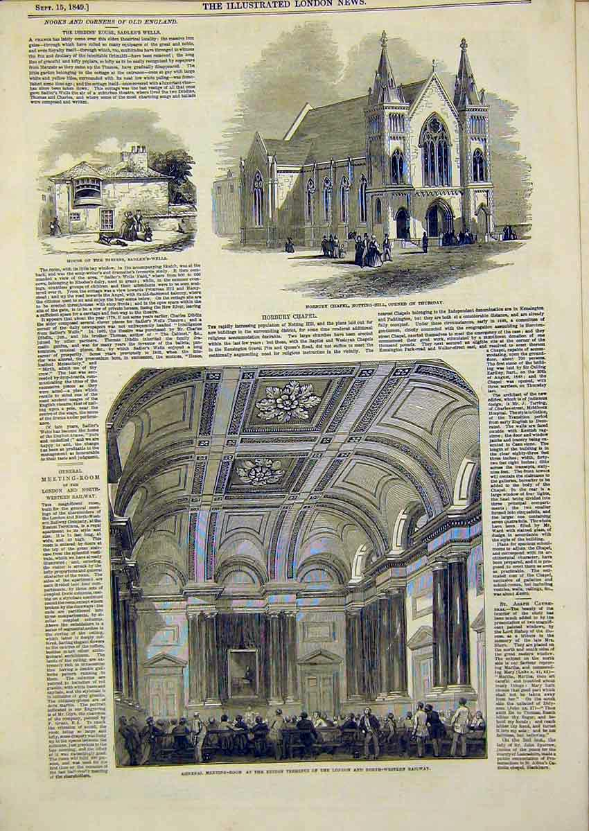 Print Horbury Chapel England Sadlers-Wells Euston Terminus 81Ccc1 Old Original