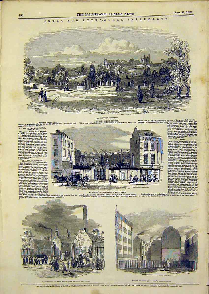 Print Lambeth Burial Ground Drury-Lane Blackfriars 1849 92Ccc1 Old Original