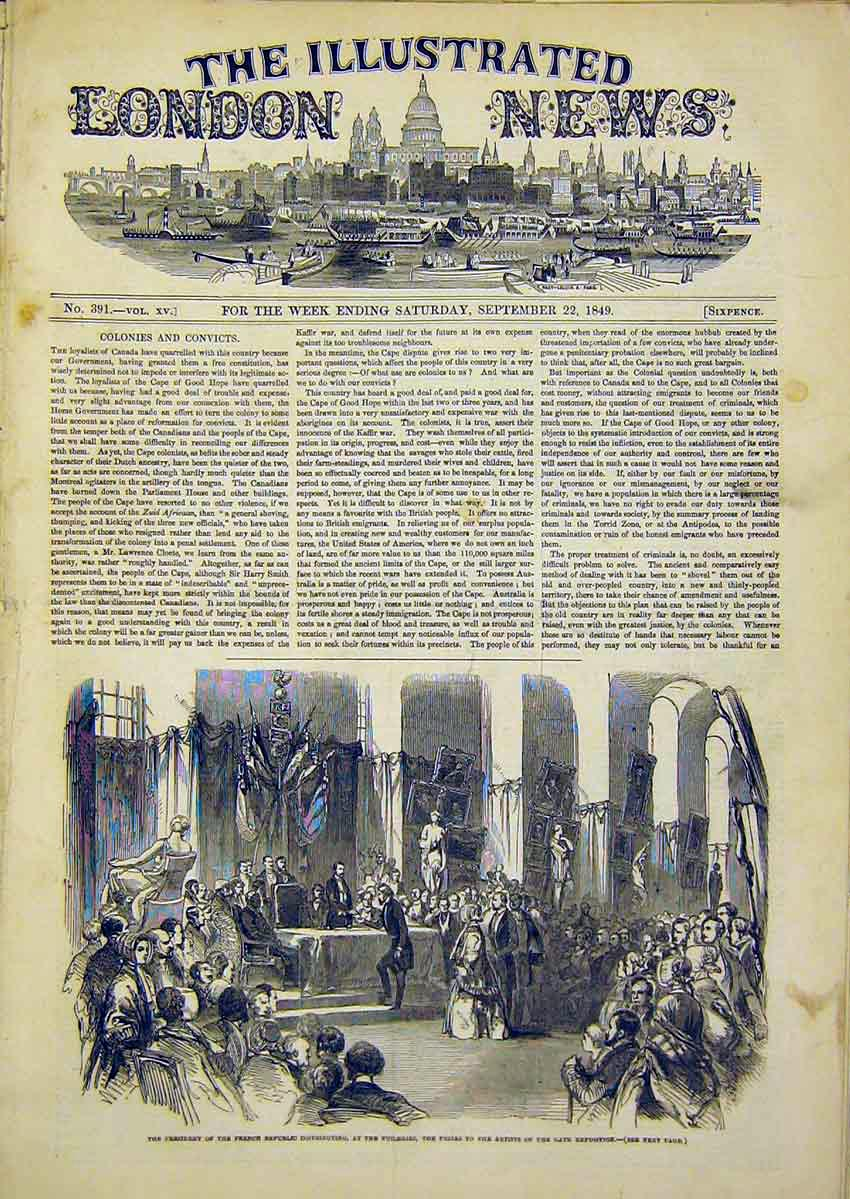 Print President French Republic Tuileries Artists 1849 94Ccc1 Old Original