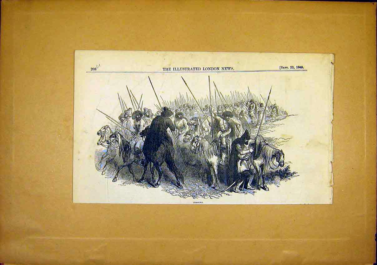 Print Cossacks Horse Soldier War Russian Spears 1849 08Uccc1 Old Original