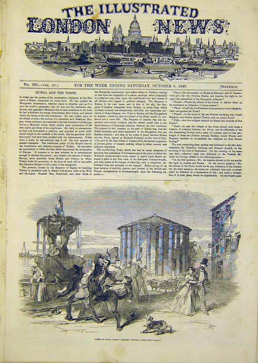 Print Russia Porte Rome Scene Dog Soldiers Fighting 1849 26Ccc1 Old Original