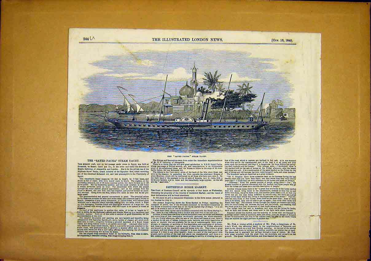 Print Ship Steam Yacht Sayed Pacha 1849 44Uccc1 Old Original