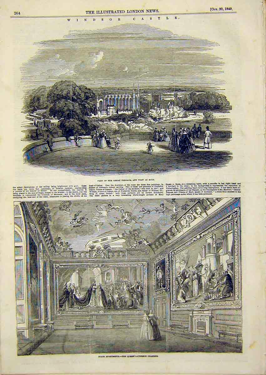 Print Windsor Castle Eton Views Queen Audience Chamber 1849 64Ccc1 Old Original