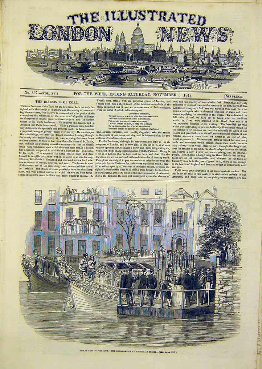 Print Royal Visit Whitehall Blessing Coal 1849 90Ccc1 Old Original