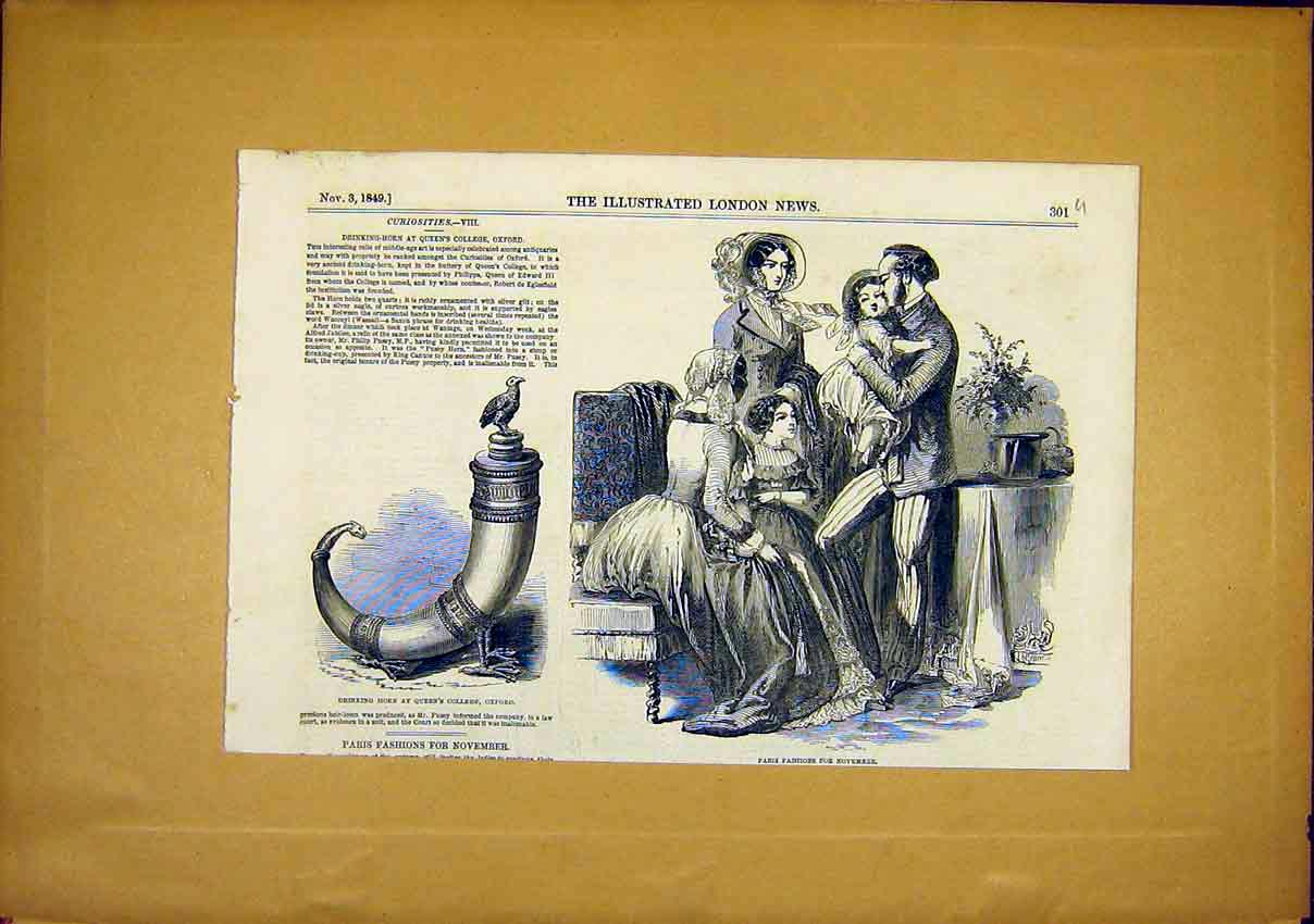 Print Paris Fashions Drinking Horn Queen'S College 1849 01Uccc1 Old Original