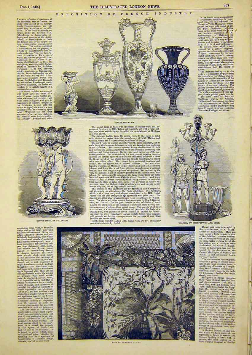 Print Exposition French Industry Sevres Porcelain 1849 57Ccc1 Old Original