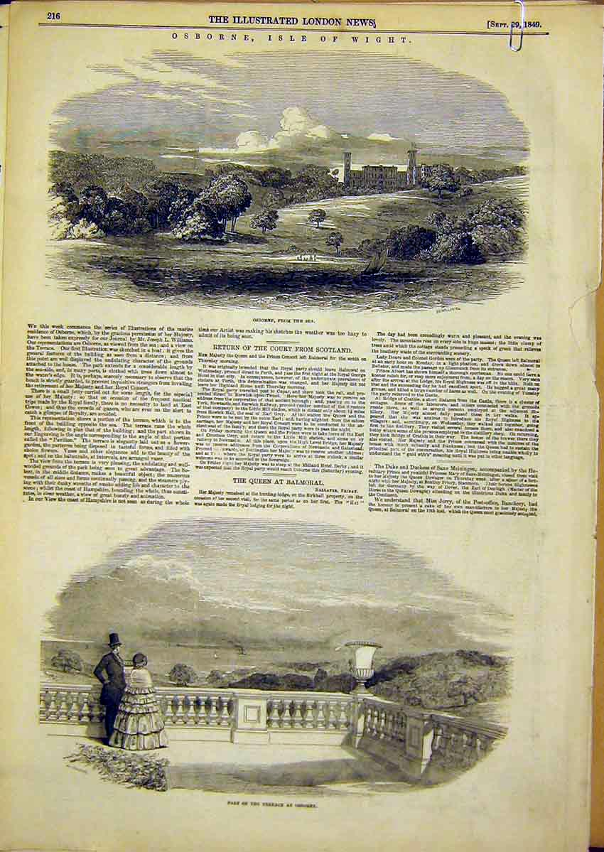 Print Osbourne House Isle Wight Terrace Sea View 1849 64Accc1 Old Original