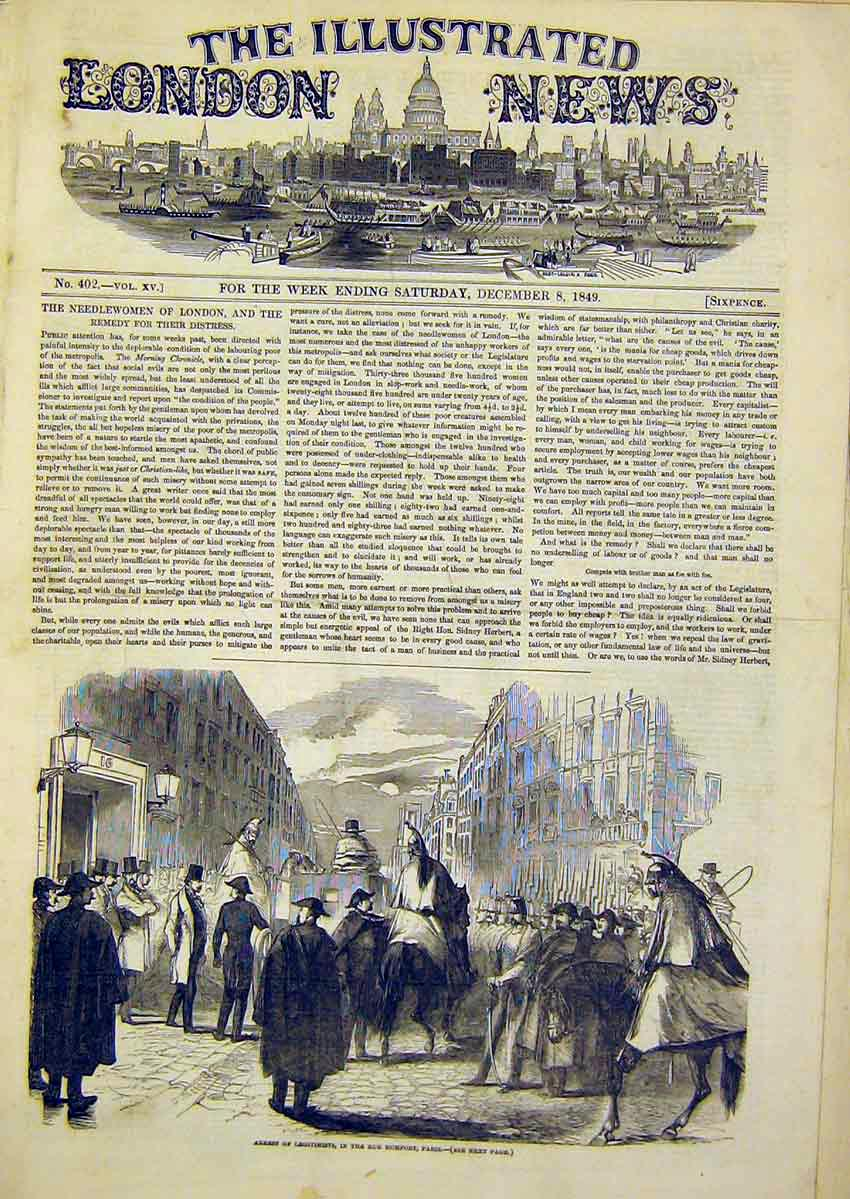 Print Arrest Legitimists Rue Rumfort Paris 1849 70Ccc1 Old Original
