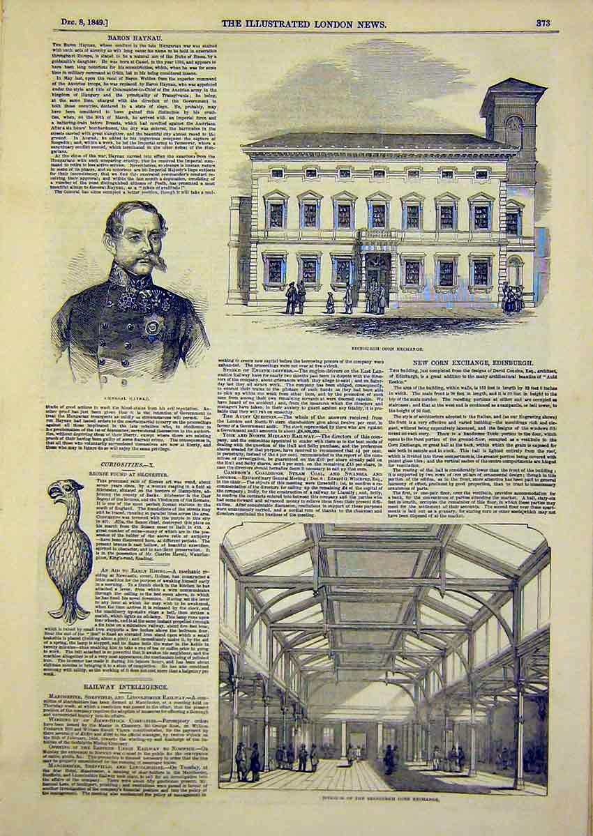 Print Portrait General Haynau Edinburgh Corn Exchange 1849 73Ccc1 Old Original