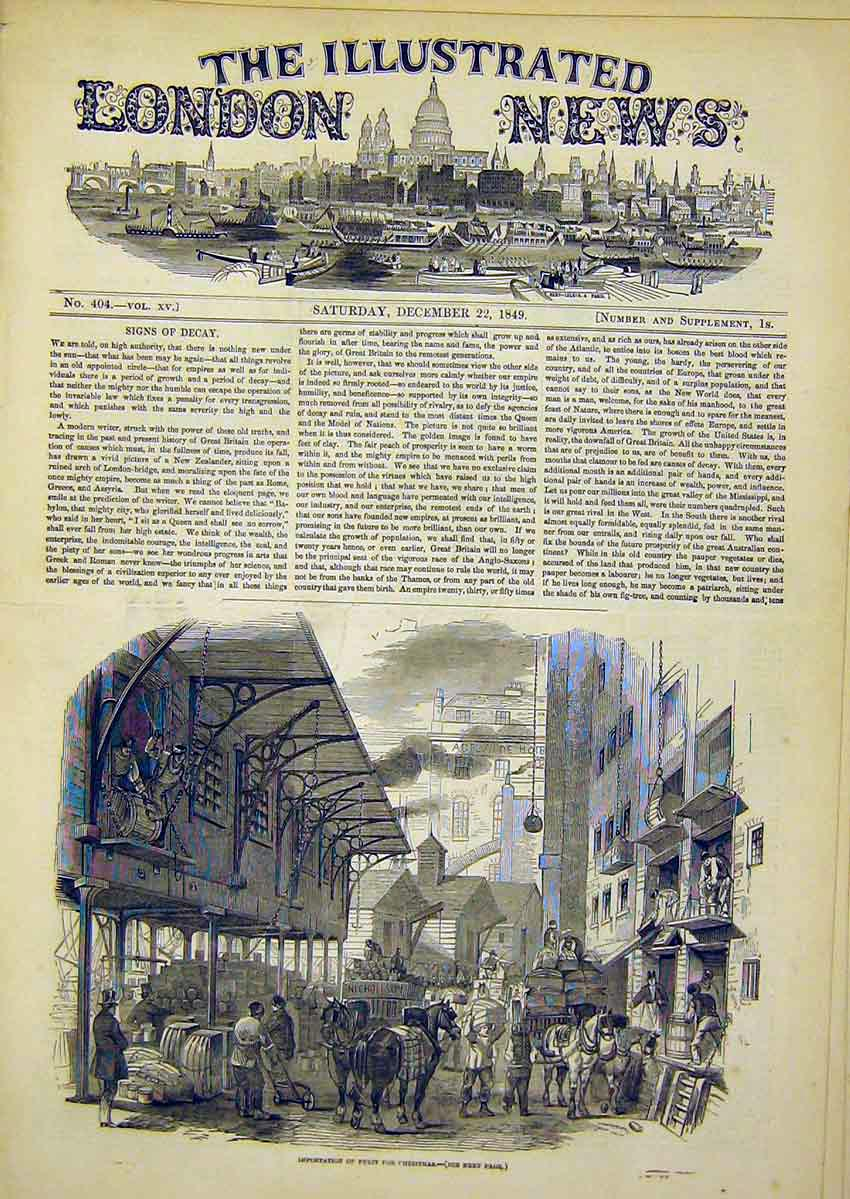 Print Importation Fruit Christmas London Street 1849 02Ccc1 Old Original