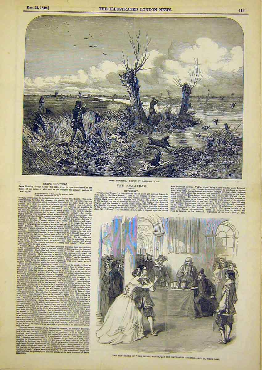 Print Theatres Snipe Shooting Hamarket Dogs Hunting 1849 13Ccc1 Old Original