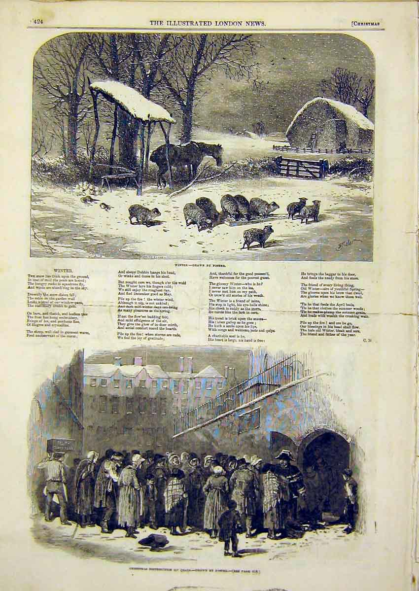 Print Christmas Song Poem Winter Foster Coals 1849 24Ccc1 Old Original